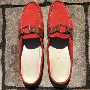 Attilio Giusti Leombruni Red Suede Slip On Loafers